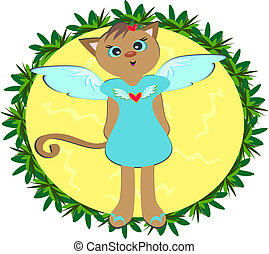 Cat Angel in Plant Frame