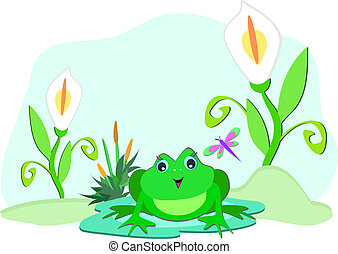 Frog with White Lilies - Here is a cute Frog sitting among...