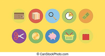 Set icons in flat style isolated on white background.