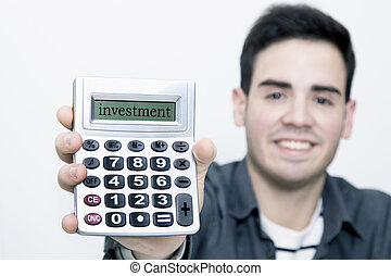 calculator in first plane with man to the background smiling