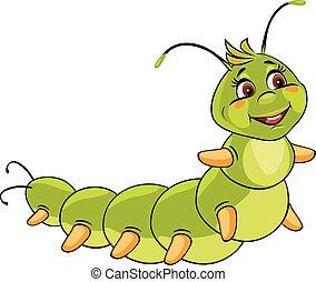 Cartoon smiling caterpillar. Vector illustration