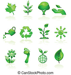Green environmental icons - Illustration set of glossy green...