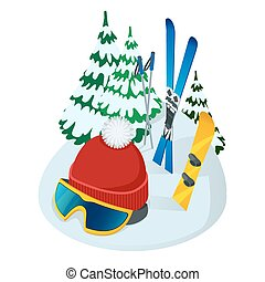 Vector illustration of helmet and skis and Christmas tree on...