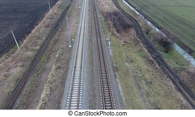 Railway. The span over the railway tracks. Rails and railway...