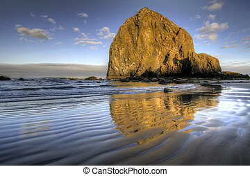 Reflection of Haystack Rock at Cannon Beach 2 - Reflection...