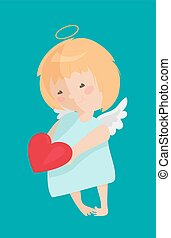 Cute angel isolated on white background. Vector illustration...
