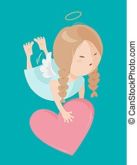 Cute angel isolated on white background