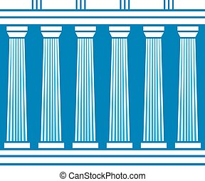 Double classic pillars arc isolated on blue background....