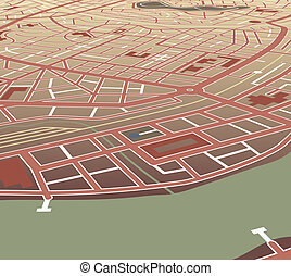 Riverside city - Editable vector map of a generic city at an...
