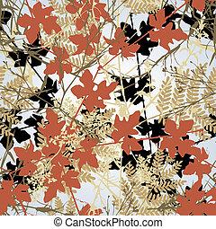 Seamless plants - Editable vector seamless tile of tangled...