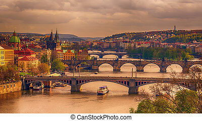 Prague, Czech Republic: romantic bridges that crosses Vltava river