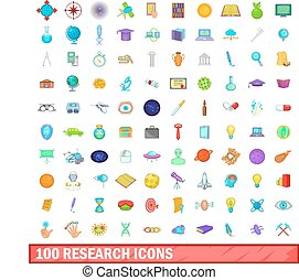 100 research icons set, cartoon style - 100 research icons...