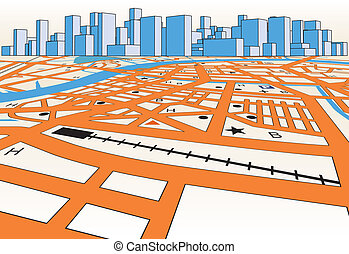 Skyline map - Vector streetmap of a generic city plus...