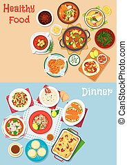 Lunch menu icon set with main dishes and dessert - Lunch...