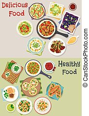 Tasty lunch icon set with salads and fruit dessert - Tasty...