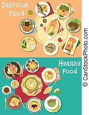 Dinner icon set with meat, seafood and soup dishes - Dinner...