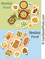 Dinner with meat, veggies and mushroom icon set