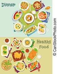Dinner dishes icon set with salad, snack and soup - Dinner...