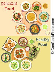Lunch meals icon set for food theme design - Lunch meals...