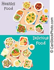 Healthy food icon set for dinner menu design - Healthy food...