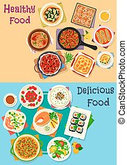 Healthy food icon set for restaurant menu design - Healthy...
