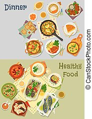 Healthy vegetarian and baked fish dishes icon set -...