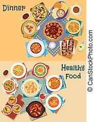 Soup and salad of world cuisine icon set design - Popular...