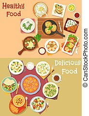 Healthy lunch dishes with fruit dessert icon set of fish...