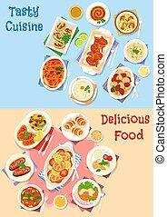 set, carne, Piatti, disegno, verdura, icona