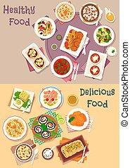 Dinner icon set of popular dishes for menu design - Dinner...
