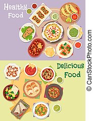 Mexican cuisine icon set with hot snacks - Mexican cuisine...