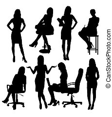 Business Woman Activity in Office Silhouettes