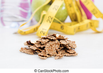cereals integral with background of tape measure, fruit and...