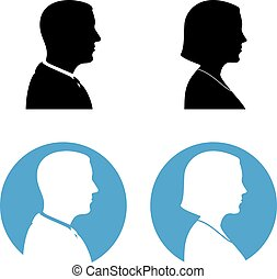 Man And Woman Silhouettes Profile Wiew