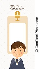 First communion child foreground on vertical card