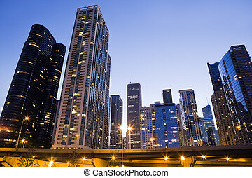 Downtown Chicago seen from the Lake side