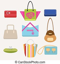 Set of female handbags in a flat style isolated on a light...
