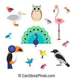 Set of cartoon birds in a flat style isolated on white background. Vector illustration, EPS10.