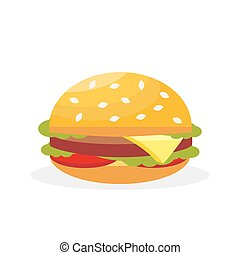 Vector hamburger. Fast food. Delicious meat sandwich with cheese and vegetables. Vector, illustration isolated on white background EPS10.