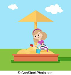 Girl with shovel and bucket playing in the sandbox. Flat character. Vector, illustration EPS10.