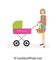 Mum walks with the child in the stroller. Flat character isolated on white background. Vector, illustration EPS10.