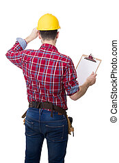 worker with the folder and isolated on white construction helmet