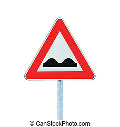 Uneven Road Sign With Pole isolated on white - Uneven Road...