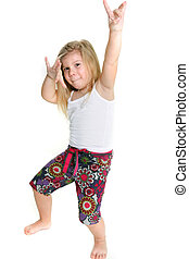 little girl dancing over white - little girl dancing hip-hop...