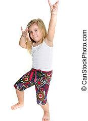 poco, niña, bailando, encima, blanco
