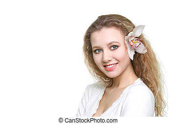 young smiling woman over white