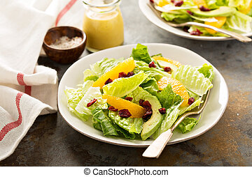 Fresh colorful salad with romaine and orange - Fresh healthy...