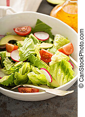 Fresh healthy salad with romaine and avocado - Fresh and...