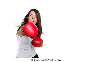 young beautiful female boxer over white