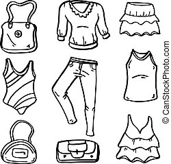 Clothes accessories for women of doodles hand draw